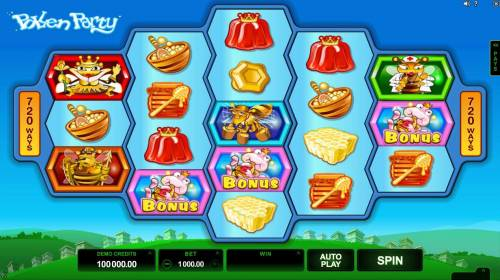 Pollen Party Big Bonus Slots A honey bee themed main game board featuring five reels and 720 winning combinations with a $440,000 max payout.