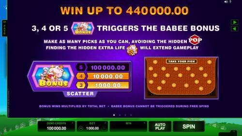 Pollen Party Big Bonus Slots Win up to 440,000.00! 3, 4 or 5 Babee Bonus symbols triggers the Babee Bonus.