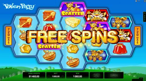 Pollen Party Big Bonus Slots Landing thre or more scatter symbols anywhere on the reels triggers the Free Spins bonus feature.