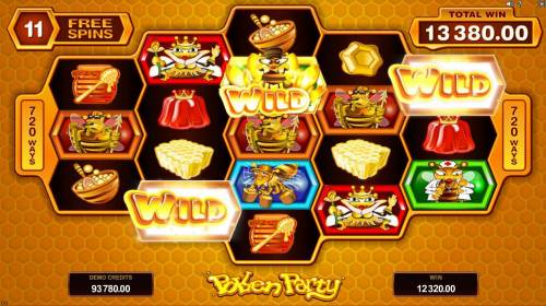Pollen Party Big Bonus Slots A 12,320.00 super win triggered during the free spins feature.
