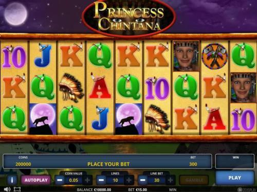 Princess Chintana Big Bonus Slots Main game board featuring nine reels and 10 paylines with a $625,000 max payout.