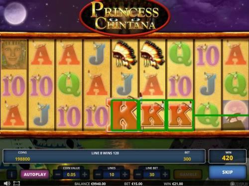 Princess Chintana Big Bonus Slots Wins are for adjacent symbol matches