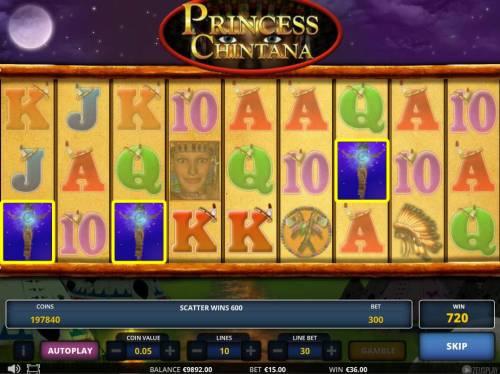 Princess Chintana Big Bonus Slots Scatter trigger a 600 coin jackpot