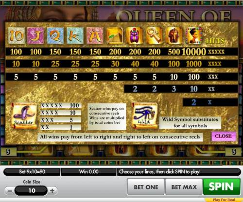 Queen of Egypt Big Bonus Slots Slot game symbols paytable featuring ancient Egyptian themed icons.