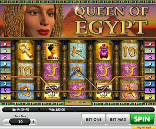Queen of Egypt Big Bonus Slots A 350.00 jackpot triggered by a pair of winning paylines.