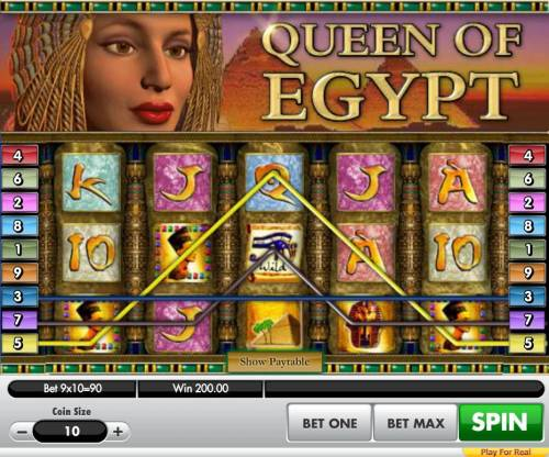 Queen of Egypt Big Bonus Slots Multiple winning paylines leads to a 200.00 payout.