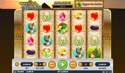 Queen of Queens II Big Bonus Slots Main Game Board