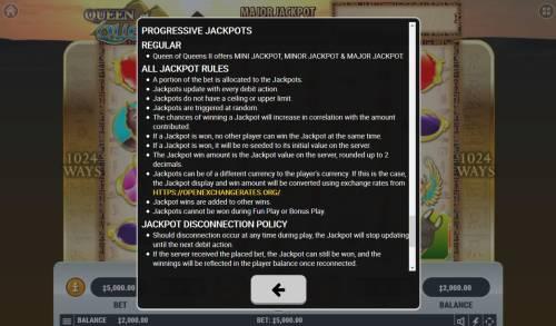 Queen of Queens II Big Bonus Slots Progressive Jackpot Rules