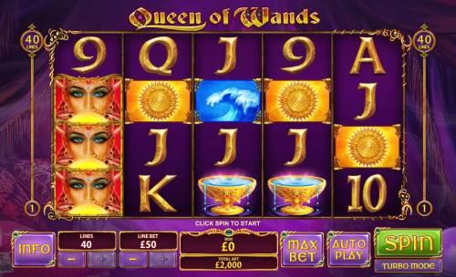 Queen of Wands Big Bonus Slots Main Game Board