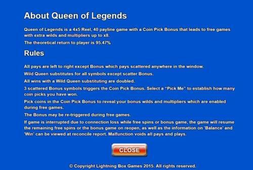 Queen of Legends review on Big Bonus Slots