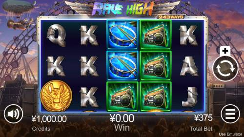 Rave High Big Bonus Slots Main Game Board