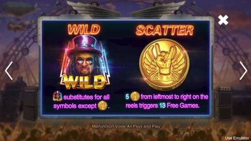 Rave High Big Bonus Slots Wild and Scatter Symbol Rules