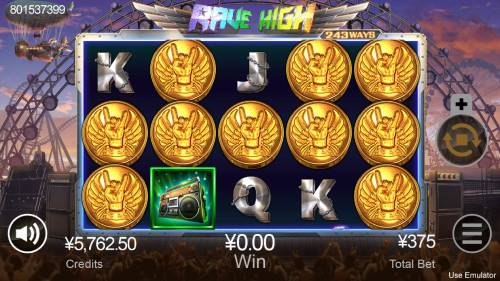Rave High Big Bonus Slots Scatter win triggers the free spins feature