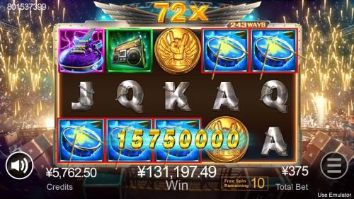Rave High Big Bonus Slots Free Spins Game Board