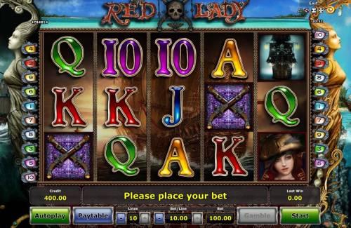 Red Lady Big Bonus Slots Main Game Board