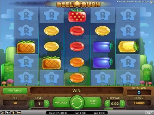 Reel Rush Big Bonus Slots main game board featuring five reels and 3125 ways