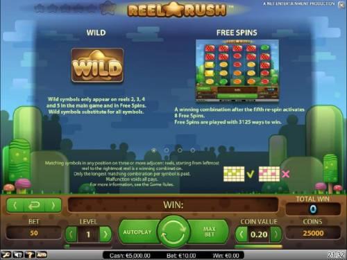 Reel Rush Big Bonus Slots wild and free spins rules