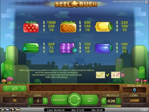 Reel Rush Big Bonus Slots slot game symbols paytable