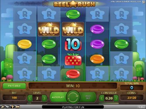 Reel Rush Big Bonus Slots a pair of wilds triggers a ten coin jackpot leading to a re-spin with expanded reel psoitions