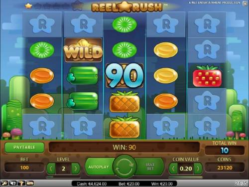 Reel Rush Big Bonus Slots re-spin feature triggers a 90 coin payout and additonal reel positions are uncovered for another re-spin.