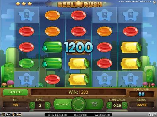 Reel Rush Big Bonus Slots 1200 coin jackpot triggered after multiple re-spins