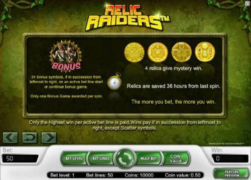 Relic Raiders Big Bonus Slots bonus feature game rules