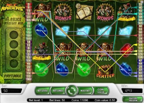 Relic Raiders Big Bonus Slots multiple winning paylines triggers a 1293 coin big win