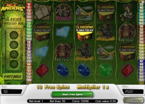 Relic Raiders Big Bonus Slots 13 free spins awarded