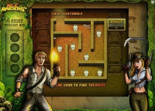 Relic Raiders Big Bonus Slots Tikal, Guatemala bonus game board