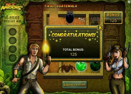 Relic Raiders Big Bonus Slots bonus feature pays out 125 coins