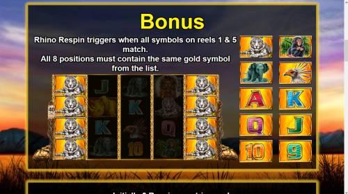 Respin Rhino Big Bonus Slots Bonus Game Rules