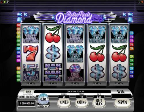Retro Reels - Diamond Glitz Big Bonus Slots Main game board featuring five reels and 25 paylines with a $50,000 max payout
