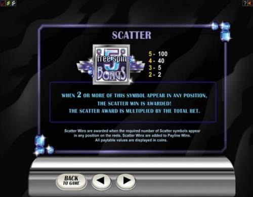 Retro Reels - Diamond Glitz Big Bonus Slots Scatter symbol paytable and rules