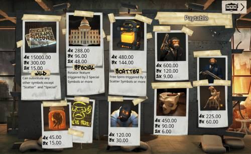 Revolution Big Bonus Slots Paytable
