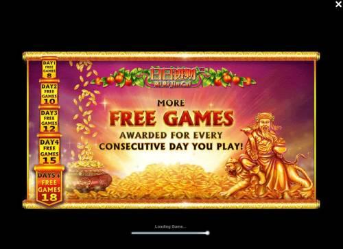 Ri Ri Jin Cai Big Bonus Slots More free games awarded for every consecutive day you play.