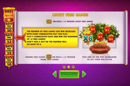 Ri Ri Jin Cai Big Bonus Slots Lucky Free Games - Free Games symbols on reels 1 and 5 triggers free games.