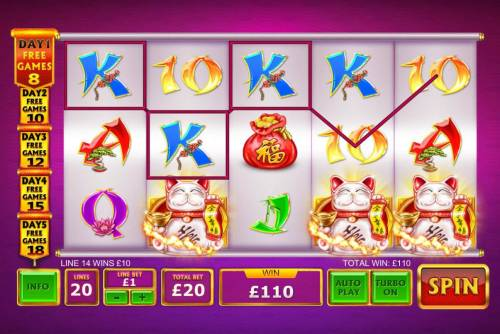 Ri Ri Jin Cai Big Bonus Slots A winning Three of a Kind and a trio of fortune cat scatters symbols pays out a 110.00 jackpot..