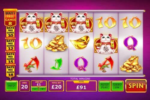 Ri Ri Jin Cai Big Bonus Slots Fortune Cat scatter four of a kind triggers a 200.00 payout.