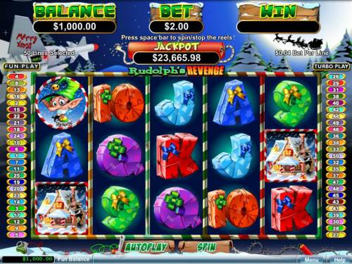 Rudolph's Revenge Big Bonus Slots A Christmas holiday themed main game board featuring five reels and 50 paylines with a progreesive jackpot max payout