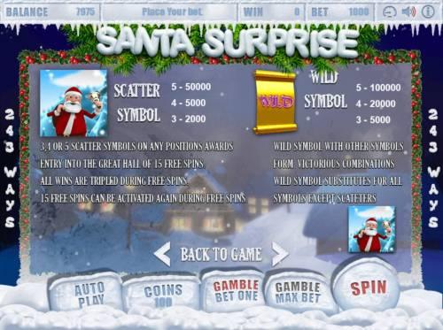 Santa Surprise Big Bonus Slots Wild and Scatter Symbol Rules