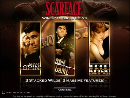Scarface Big Bonus Slots Scarface slot game splash page win up to 60000 coins