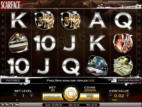 Scarface Big Bonus Slots Scarface slot game main board