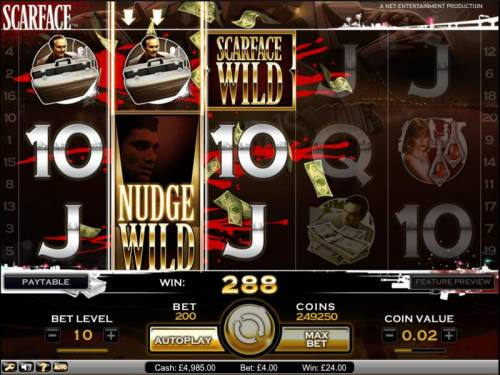 Scarface Big Bonus Slots Scarface slot game nudge wild will move down with each successive spin