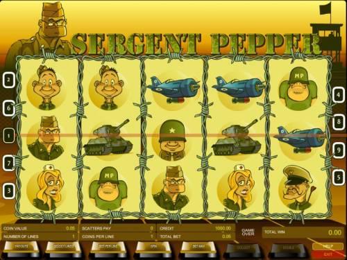 Sergent Pepper Big Bonus Slots main game board featuring five reels and nine paylines