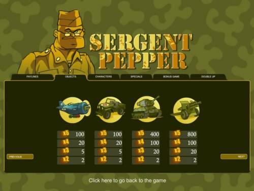 Sergent Pepper Big Bonus Slots slot game symbols paytable