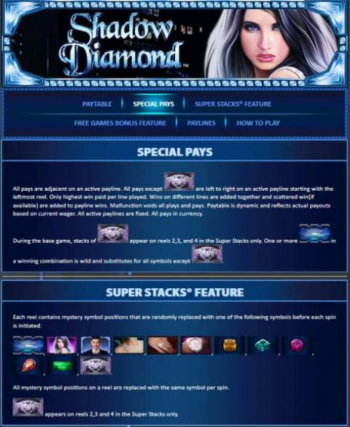 Shadow Diamond Big Bonus Slots Special Pays and Super Stacks Feature