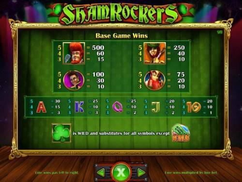 Shamrockers Eire To Rock Big Bonus Slots Base Game Symbols Paytable