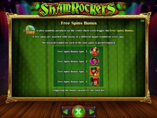 Shamrockers Eire To Rock Big Bonus Slots Three admit one bonus symbols anywhere on the center three reels trigger the Free Spins Bonus. 4 free spins are awarded with stacks of a different major symbol on every spin.