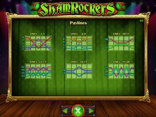 Shamrockers Eire To Rock Big Bonus Slots Payline Diagrams 1-20