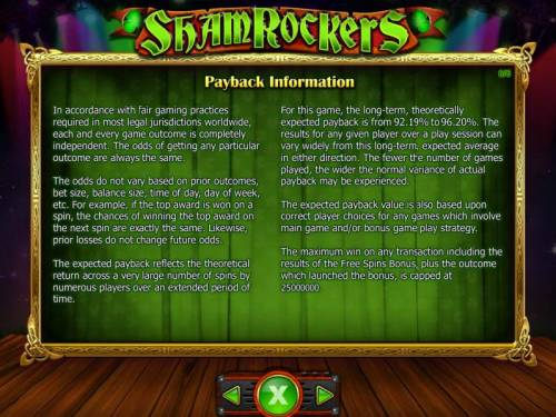 Shamrockers Eire To Rock Big Bonus Slots Payback Information - Theoretical return To Player -s from 92.19% to 96.20%. The maximum win on any transaction is capped at 250,000.